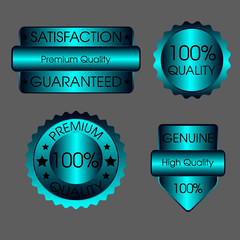 Set of luxury blue business quality labels, icon Vector