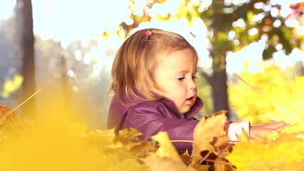 Portrait of a baby in autumn park.