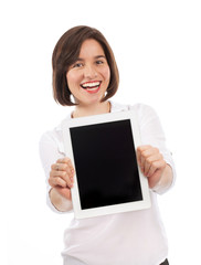 Beautiful brunette presenting a digital tablet