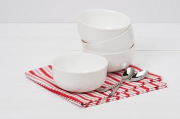 White Bowls. Red White Napkin