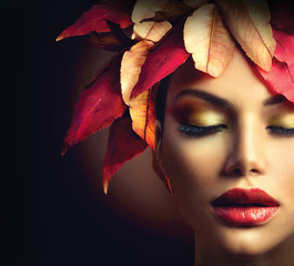 Fantasy Autumn Woman with Colourful Autumn Leaves Hairstyle