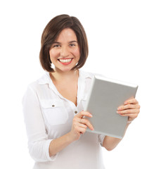 Happy young brunette using a touchpad