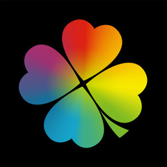 Four Leaved Clover Rainbow Gradient Black
