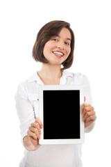 Brunette presenting a digital tablet