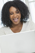 African American Woman Happy Surprise Laptop Computer