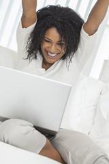 African American Woman Celebration Laptop Computer