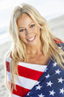 Sexy Blond Woman Girl in American Flag on Beach