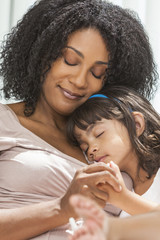 African American Woman Child Mother Daughter Sleeping
