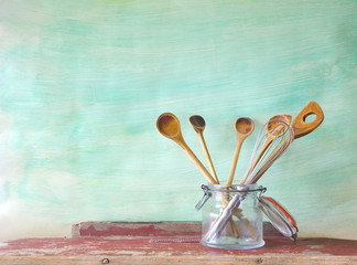 kitchen utensils, wooden spoons, free copy space