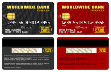 Templates of credit cards in black&red design with cells