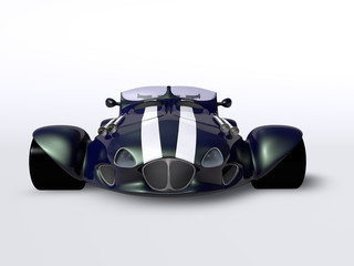 Blue racing car front
