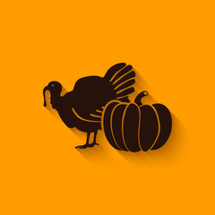 Thanksgiving symbols. turkey and pumpkin