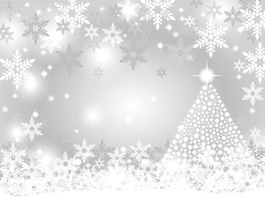 Silver christmas background with shiny Christmas tree