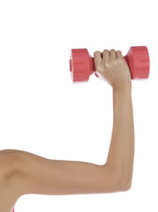 Woman arm lifting weight