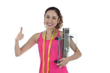 Happy weight loss healthy woman thumb up
