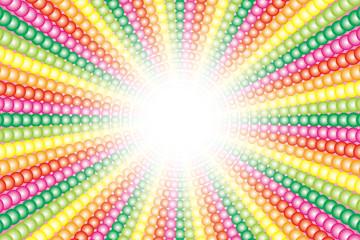 背景壁紙素材(多数の虹色小球体の放射, レインボー, 七色)