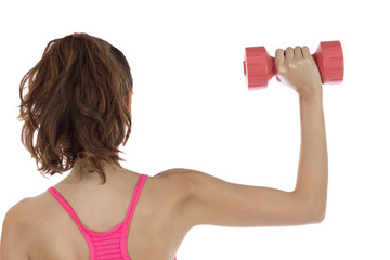 Fitness woman training her arms
