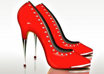 Extreme High Heel in Rot, freigestellt