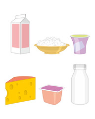 Set of a dairy products