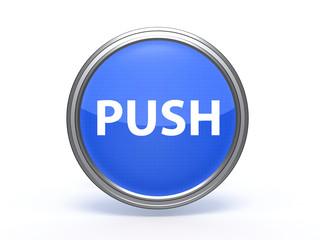 push circular icon on white background