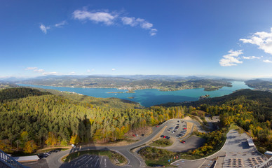 Autumn Panorama View From Pyramidenkogel Tower To Lake Woerth