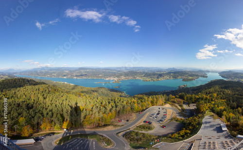 canvas print picture Autumn Panorama View From Pyramidenkogel Tower To Lake Woerth