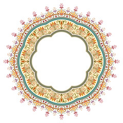 vector abstract circular floral frame - pattern design
