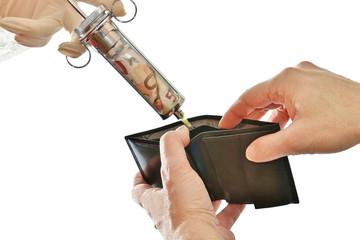 Geldspritze brieftasche auffüllen, geldbörse, Portemonnaie; frei