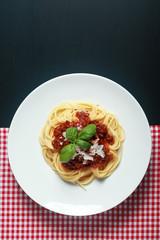 Gourmet Italian Pasta Food on Round Plate