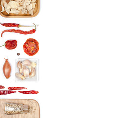Various spices and herbs on white background. top view