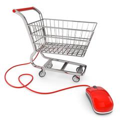 Einkaufswagen rote Maus