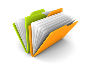 office paper folders colorful icon on white background