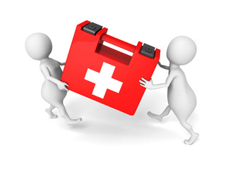 white 3d people carry red medical first aid kit