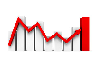 Business bar chart graph with rising red arrow