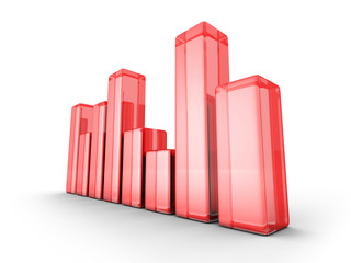 red shiny glass business chart graph on white