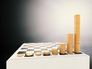 Chessboard with growing height coins stacks
