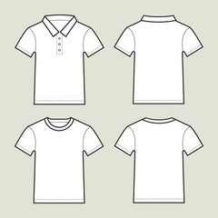 Set Of White T-Shirts Template