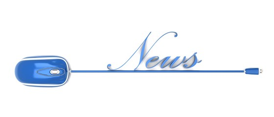 Mouse with blu writing news