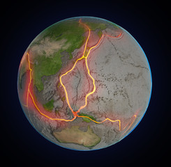Earth's fault lines between tectonic plates