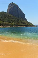 Mountain Sugarloaf empty red beach blue sea, Rio de Janeiro