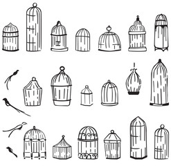 birdcages set on a white background
