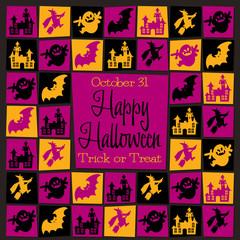 Bright mosaic retro Halloween card in vector format.