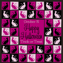 Bright mosaic retro Halloween card in vector format.