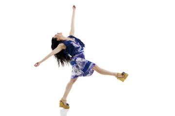 Beautiful sexy young woman dancing