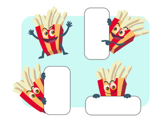 french fries vector cartoon illustration set