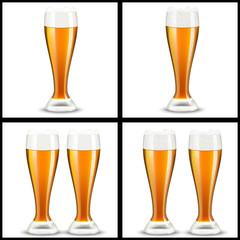 бокалы пива на белом фоне