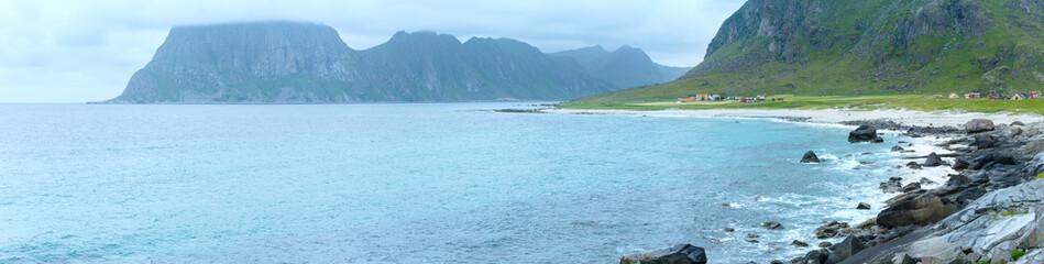 Haukland beach summer panorama (Norway, Lofoten).