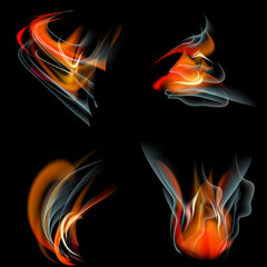 Set of Flames different shapes on a black background. EPS10.