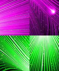 Set of background of colourful luminous rays. Vector