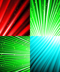 Set of background colourful luminous rays. Vector